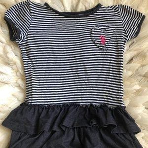 U.S. POLO Toddler Girls 2T Ruffle Denim Dress